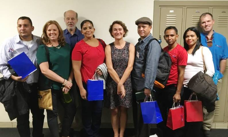 Pictured L to R: Teacher Fabio Borda, Sister City Bd members Stacey Downey & Peter Moyer, Teacher Maryuri Ulloa, BHS Chair World Language Dept. Agnes Alberola, Teachers Roberto Garcia & Eddy Calderon, Dr. Milagro Baldelomar & BHS Global Leadership Teacher Ben Kahrl